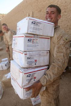 """""""Look at that smile!  Please send care packages to our troops overseas. One way to do that is through AnySoldier.com.""""  What a great idea!"""