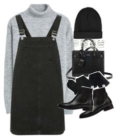 """Outfit with a pinafore in winter"" by ferned ❤ liked on Polyvore featuring Topshop, MANGO, Yves Saint Laurent, Gerbe, Balenciaga and Miss Selfridge"