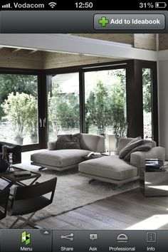 Classy Iconic Lounge Becoming Timeless Furniture: Soft Contemporary Living Room With Chaise Lounges In Cool Gray Grey Rug And The Hardwood F. Home Living Room, Living Room Designs, Living Room Decor, Living Spaces, Chaise Lounges, Lounge Chairs, Room Chairs, Side Chairs, Family Room Design