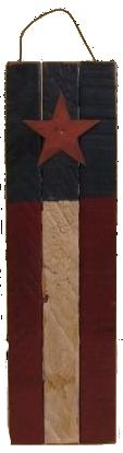 Small Tobacco Lath Flag ~ 3 lath wide ~ 16 inches long ~ Comes with a rusty star and a rusty wire hanger ~ You choose if it hangs vertically or horizontally!   $7.50
