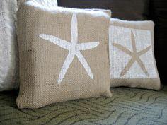 Mr & Mrs Starfish Burlap Pillows @ Domestically-Speaking.com
