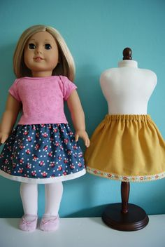 18-inch doll elastic-waist skirts by nest full of eggs.  Free tute.