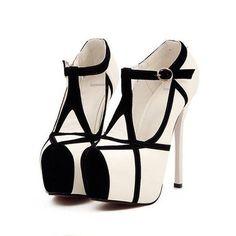fe5a73729edc Platform high heels fashion T-stripe stitching pumps