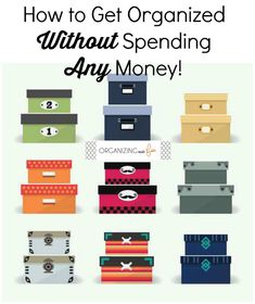How to Get Organized Without Spending Any Money! Getting organized doesn't have to be costly, especially since doling out money on cute but pricey organizing containers aren't the solution. Find out how thanks to Small Space Organization, Container Organization, Office Organization, Bathroom Organization, Organized Bathroom, Organized Garage, Organized Kitchen, Organizing Your Home, Organizing Tools
