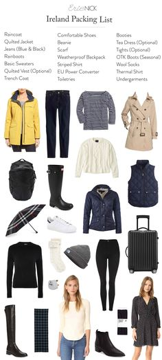 Taking a trip to Ireland, but wondering what to wear? Here's a detailed pack… Taking a trip to Ireland, but wondering what to wear? Here's a detailed packing list, covering all the bases of what to wear for both urban & rural Ireland. Restaurants In Paris, Travel Capsule, Travel Packing, Packing Lists, Travel Outfits, Budget Travel, Vacation Outfits, Vacation Packing, Travel Checklist
