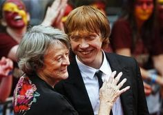 """Maggie Smith and Rupert Grint at the premiere of """"Harry Potter and The Half-Blood Prince"""" at Leicester Square, London, July 7th 2009."""