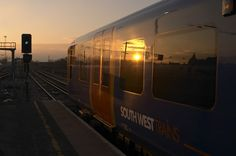 Sunset reflection on one of the Desiro trains. South West Trains, Commuter Train, Speed Training, Locomotive, United Kingdom, Reflection, Sunset, City, Style