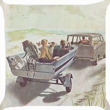 "Retro vintage family car yacht boat trip Cushion Cover throw pillow case 18"" fun"