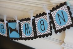 Grey Black Blue Chevron Zig Zag  Its a Boy or by DreamPartyPaperie, $27.00