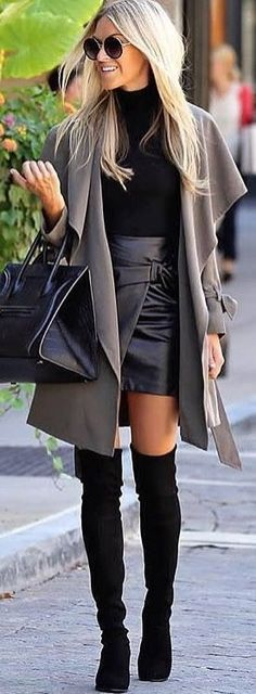 #winter #outfits gray cardigan, black turtleneck top and gray satin skirt outfit