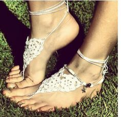 Boho wedding foot wear - I actually really like this idea! I hate shoes, and who cares what I have on my feet if I have a floor length dress!