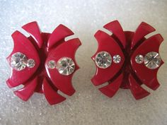 PAIR DEEP RED PLASTIC CELLULOID BAKELITE? W/ICE RHINESTONE ACCENTS EARRINGS