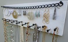 Jewelry Holder Necklace Organizer Earring Storage Display Wall Mounted Rack made from Reclaimed Wood & Rustic Nails in Whitewash Finish