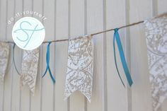 Easy #DIY ribbon bunting banner... perfect for a bridal shower, cake display, or any party!