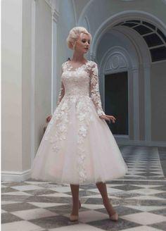 New Custom Sexy A Line Scoop Tea Length Lace Long Sleeve Tulle Vintage Short Wedding Dresses 2014 US $99.99
