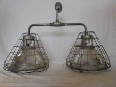 RARE Vintage Industrial Light Holophane Old Ceiling Barn Shade Pendant Dbl Cage | eBay
