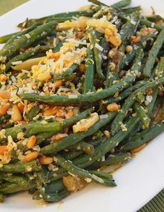 Roasted Green Beans w Garlic, Lemon, Pine Nuts & Parmesan