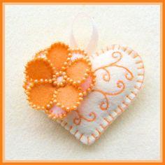 *FELT ART ~ orange & white embroidered felt heart by clausatie Fabric Crafts, Sewing Crafts, Felt Embroidery, Felt Decorations, Heart Crafts, Felt Brooch, Felt Patterns, Felt Fabric, Felt Diy