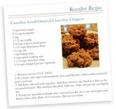 Canadian Lentil Chocolate Chip Cookie Recipe Canadian Recipes, Canadian Food, Dog Food Recipes, Cookie Recipes, Healthy Recipes, Cookie Bars, I Love Food, Lentils, Chocolate Chip Cookies