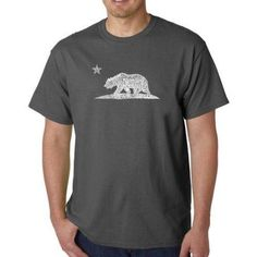Los Angeles Pop Art Men's T-shirt - California Bear, Size: Medium, Gray