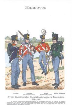 Band XI #35.- Hannover. Typen Hannoverscher Occupationstruppen in Frankreich 1815-1819. Artillerist. Grenadier und Offizier der Linien-Infanterie. Leichte Infanterie.
