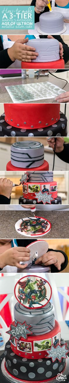 Metallic silver airbrush makes this sky-high Avengers cake totally epic. Give it a try, it's easier than it looks and the link has the full tutorial.