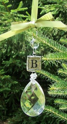 Monogram Crystal Ornament Photo Credit: Starlitstudio(dot)typepad(dot)com Christmas Ornament Crafts, Christmas Wishes, Winter Christmas, Holiday Crafts, Christmas Holidays, Christmas Bulbs, Christmas Decorations, Christmas Ideas, Etsy Christmas