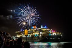 One of our students captures the spectacular fireworks display for the Queen Mary 2nd's 10th Anniversary - Southampton Docks in Southampton, Hampshire