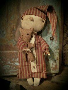 Primitive Bedtime Snowman & His Bear Cupboard Hanger Doll Winter Christmas