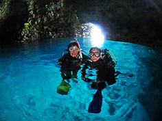 Blue Cave Diving. Known for its stunningly beautiful blue water, the Blue Cave located at Maeda Point, is a beginner-friendly diving/snorkeling site. The sunlight reflected on the bottom of the ocean reaches to the cave and it magically illuminates water inside.