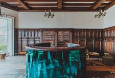 The central concierge desk, which has a faceted blue-metal base, brings a modern touch to the room. Georgian Buildings, Georgian Mansion, Old Mansions, Mansions Homes, Gun Rooms, Forest Design, Private Dining Room, Room Screen, Cinema Room