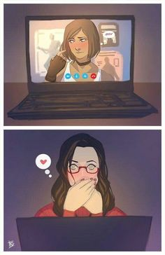 """Korrasami Week - Hair + Internet (Girl)Friends (AU)Korra being shy about her new haircut and Asami having an """"Oh no she's cute. <<< I'm squealing from Korrasami cuteness overload. Avatar Airbender, Avatar Aang, Avatar Funny, Team Avatar, Korra E Asami, Asami Sato, Kora And Asami, Legend Of Aang, The Legend Of Korra"""
