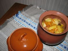 Traditional Belarusian potato stew in a jug.