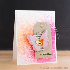 Handmade Thank You Card with Layered Butterfly and Neon Spray Misted Background