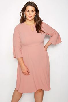 Plus Size YOURS LONDON Dusky Pink Dress With Fluted Sleeves  5f5d2ab20670