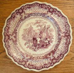 Historical Staffordshire China ~ Carolina ~ Mulberry Transferware Plate c.1830