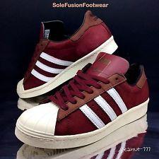 low priced a9ce9 889f7 adidas Mens Superstar 80s Trainers Red brown Sz 8 RARE Ltd Sneaker US 8.5 EU  42   eBay