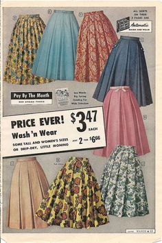 So many fantastic late 1950s skirts here, but the pink one is by far my favourite. #skirt #vintage #dress #retro #fashion #1950s