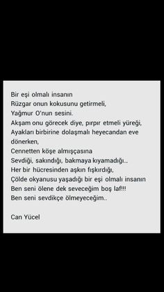 Bir eşi olmalı insanın Rüzgâr onun kokusunu getirmeli  Can Yücel Poetry Quotes, Words Quotes, Love Quotes, I Love You Means, Motivational Quotes, Inspirational Quotes, Literature Books, Note To Self, True Words