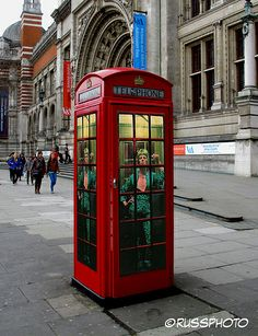 Ziggy Stardust telephone box outside the Victoria & Albert Museum during the David Bowie Is exhibit.