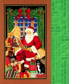 Easy Panel Quilt Kit Checking It Twice Christmas Santa Wall Quilt Kit
