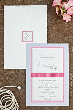 Executive | Written in Ink #winkinvitations #wedding #invitations #formal #silver #pink #ribbon #layered Rose Quartz, Wedding Invitations, Reception, Ribbon, Place Card Holders, Writing, Formal, Silver, Pink