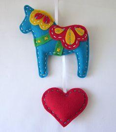 Eco Felt Dala Horse Plush Wall Hanging Cute Made to Order. $22.00, via Etsy.