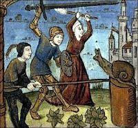 1410 manuscript - Three people against one snail
