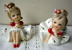 VINTAGE CHRISTMAS NAPCO GIRL FIGURINES WITH POINSETTIAS