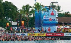 Hawaii Ironman World Championship Alii Drive crowd just before the swim start. By Randy Wrighthouse