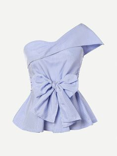 Shop Foldover One Shoulder Bow Front Peplum Top online. SheIn offers Foldover One Shoulder Bow Front Peplum Top & more to fit your fashionable needs. Peplum Tops, Peplum Blouse, Sleeveless Tops, Collar Blouse, Peplum Top Pattern, Blue Blouse, Mode Outfits, Fashion Outfits, Office Outfits