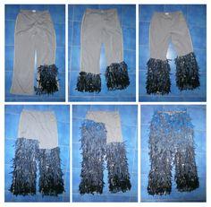 masopust 2015 Kuřim, hejkal (laufer), postup šití kostýmu - kalhoty, modrá kombinace
