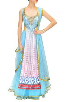 Powder blue and pink digitally print embroidered lehenga