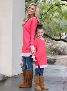 Mommy and Me Elbow Patch Terry Sweater Coral - Ryeleigh Rue Clothing by Modern Vintage Boutique